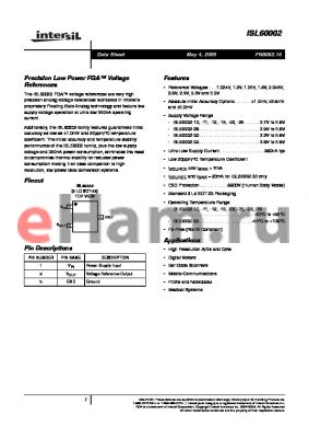 ISL60002DIH330Z-TK datasheet - Precision, Low Noise FGA Voltage References