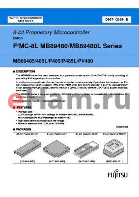 MB89P485-102PFM datasheet - 8-bit Proprietary Microcontroller