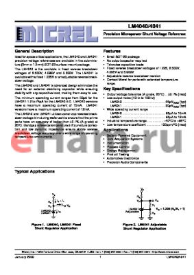 LM4040CIM3-5.0 datasheet - Precision Micropower Shunt Voltage Reference