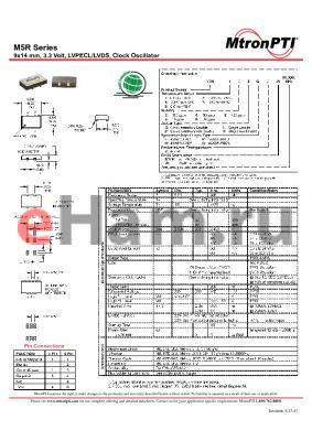 M5R84RL-R datasheet - 9x14 mm, 3.3 Volt, LVPECL/LVDS, Clock Oscillator