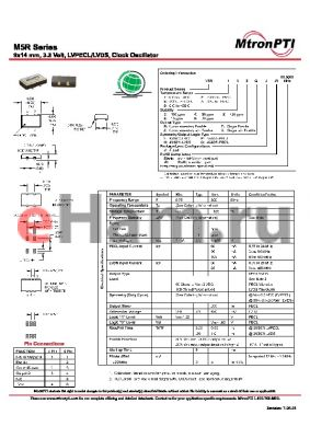 M5R84RLJ datasheet - 9x14 mm, 3.3 Volt, LVPECL/LVDS, Clock Oscillator