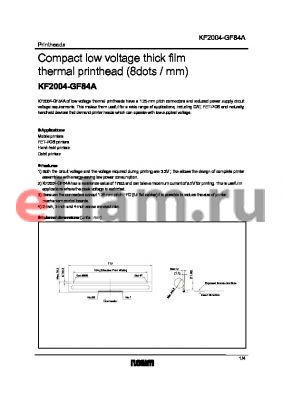 KF2004-GF84A datasheet - Compact low voltage thick film thermal printhead (8dots / mm)