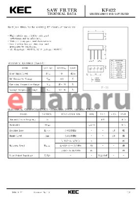 KF422S datasheet - SPECIFICATIONS FOR SAW FILTER(BAND PASS FILTERS FOR THE RECEIVING RF CIRCUITS OF PAGER)