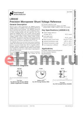 LM4040DIZ-10.0 datasheet - Precision Micropower Shunt Voltage Reference