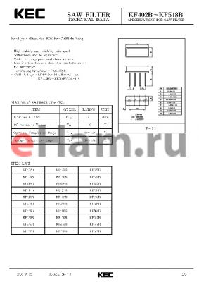 KF498B datasheet - SPECIFICATIONS FOR SAW FILTER(BAND PASS FILTERS FOR 400MHz~520MHz RANGE)