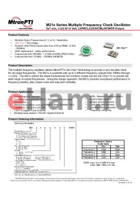 M214263G2N datasheet - Multiple Frequency Clock Oscillator 5x7 mm, 3.3/2.5/1.8 Volt, LVPECL/LVDS/CML/HCMOS Output