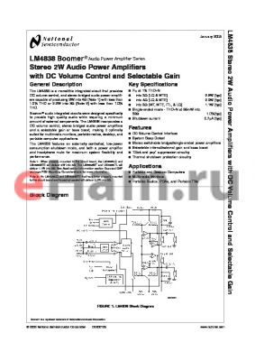 LM4838MTE datasheet - Stereo 2W Audio Power Amplifiers with DC Volume Control and Selectable Gain