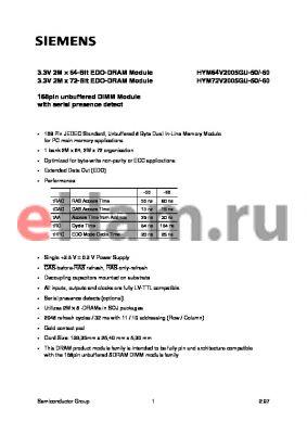 HYM64V2005GU-50 datasheet - 3.3V 2M x 64-Bit EDO-DRAM Module 3.3V 2M x 72-Bit EDO-DRAM Module