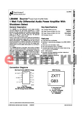 LM4898ITLX datasheet - 1 Watt Fully Differential Audio Power Amplifier With Shutdown Select