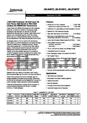 ISL81487LIBZ-T datasheet - a15kV ESD Protected, 1/8 Unit Load, 5V, Low Power, High Speed or Slew Rate Limited, RS-485/RS-422 Transceivers
