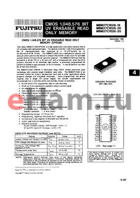 MBM27C1028-20 datasheet - CMOS 1048576 BIT UV ERASABLE READ ONLY MEMORY