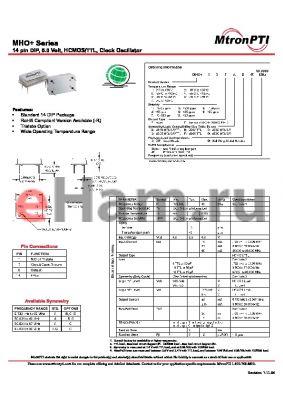 MHO18TAD datasheet - 14 pin DIP, 5.0 Volt, HCMOS/TTL, Clock Oscillator