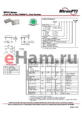 MHO352FCG-R datasheet - 14 pin DIP, 3.3 Volt, HCMOS/TTL, Clock Oscillator