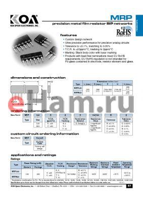 MRPA03CTD103BD datasheet - precision metal film resistor SIP networks