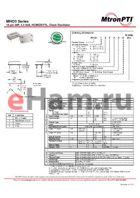 MHO368TCG-R datasheet - 14 pin DIP, 3.3 Volt, HCMOS/TTL, Clock Oscillator
