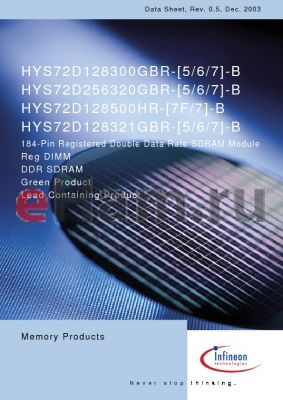 HYS72D256320GBR-5-B datasheet - 184-Pin Registered Double Data Rate SDRAM Module