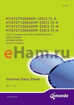HYS72T256220HP-3S-A datasheet - 240-Pin Registered DDR2 SDRAM Modules