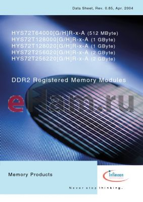 HYS72T256220HR datasheet - DDR2 Registered Memory Modules