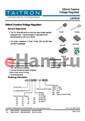 LM78LM08H-XX-TR30 datasheet - 200mA Positive Voltage Regulator