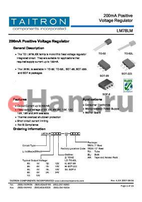 LM78LM24K-XX-TR70 datasheet - 200mA Positive Voltage Regulator