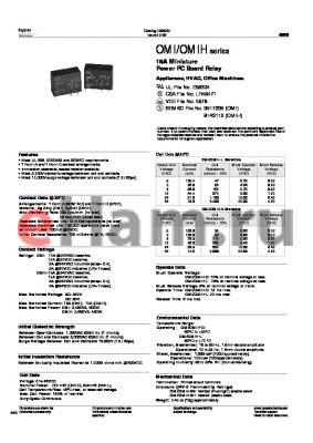 OMIHSS106D394 datasheet - 16A Miniature Power PC Board Relay