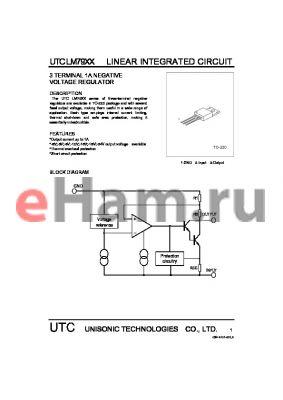 LM7915 datasheet - 3 TERMINAL 1A NEGATIVE VOLTAGE REGULATOR
