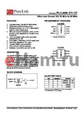 PLL600-27TC datasheet - Ultra Low Current XO 10 MHz to 52 MHz