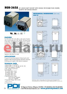 HGN-365A01S-29-1ES datasheet - IEC 60320 INLET SOCKET WITH SINGLE OR DOUBLE FUSE HOLDER, SNAP-IN OR FLANGE MOUNT