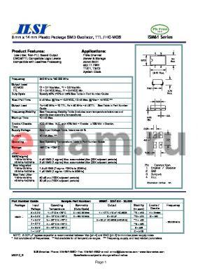 ISM61-1155FH-20.000 datasheet - 9 mm x 14 mm Plastic Package SMD Oscillator, TTL / HC-MOS