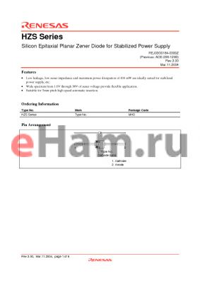 HZS2B3 datasheet - Silicon Epitaxial Planar Zener Diode for Stabilized Power Supply