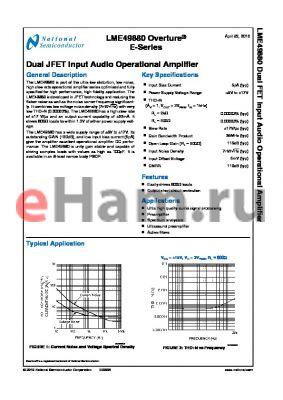 LME49880 datasheet - Dual JFET Input Audio Operational Amplifier