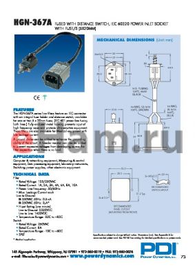 HGN-367A01Q-20-2AS datasheet - FUSED WITH DISTANCE SWITCH, IEC 60320 POWER INLET SOCKET WITH FUSE/S (5X20MM)