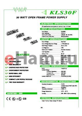 KLS30F-24S datasheet - 30 WATT OPEN FRAME POWER SUPPLY