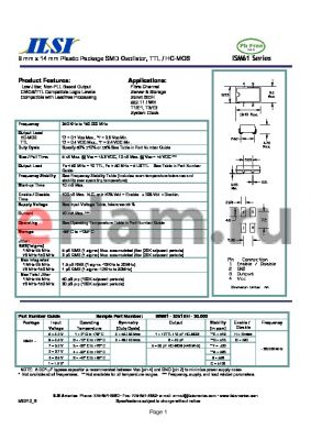 ISM61-6656EO-20.000 datasheet - 9 mm x 14 mm Plastic Package SMD Oscillator, TTL / HC-MOS