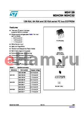 M24C64WDW6TP datasheet - 128 Kbit, 64 Kbit and 32 Kbit serial IbC bus EEPROM