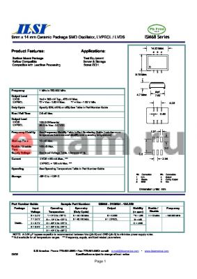 ISM68-3269AH-156.250 datasheet - 9mm x 14 mm Ceramic Package SMD Oscillator, LVPECL / LVDS