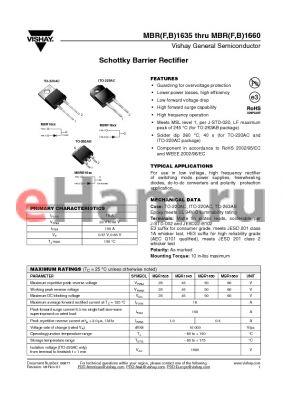 MBRB1635 datasheet - Schottky Barrier Rectifier