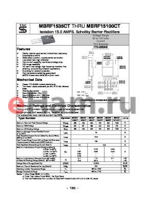 MBRF1560CT datasheet - Isolation 15.0 AMPS. Schottky Barrier Rectifiers