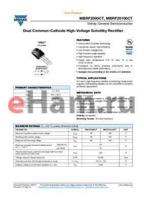 MBRF2090CT_10 datasheet - Dual Common-Cathode High-Voltage Schottky Rectifier