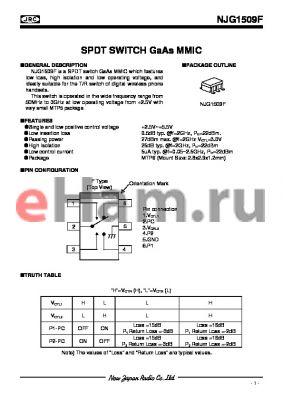 NJG1509F-C4 datasheet - SPDT SWITCH GaAs MMIC