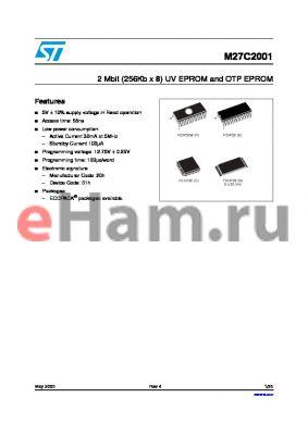 M27C2001-55XC1TR datasheet - 2 Mbit (256Kb x 8) UV EPROM and OTP EPROM