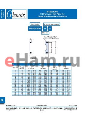 MS85049-96-25-A datasheet - Flange Mount Receptacle Connector