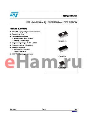 M27C256B-90F3TR datasheet - 256 Kbit (32Kb ‡ 8) UV EPROM and OTP EPROM