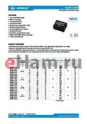 MSCW01 datasheet - DC/DC CONVERTER 1W Ultra compact SMD Package Wide 2:1 lnput Range