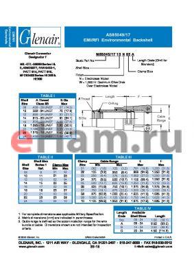 M85049-1708W01A datasheet - EMI/RFI Environmental Backshell