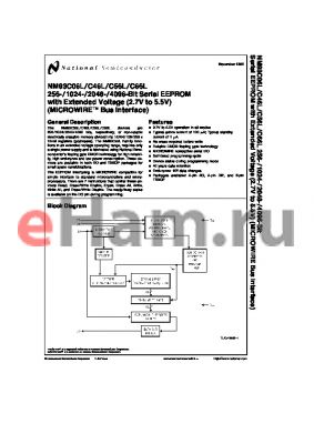 NM93C46LN datasheet - 256-/1024-/2048-/4096-Bit Serial EEPROM with Extended Voltage (2.7V to 5.5V) (MICROWIRE Bus Interface)