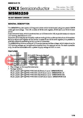 MSM5259 datasheet - 40-DOT SEGMENT DRIVER
