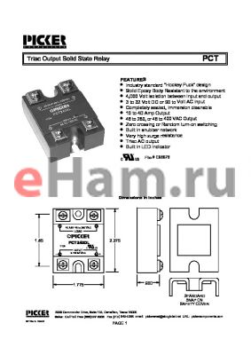 PCT320A2 datasheet - Triac Output Solid State Relay
