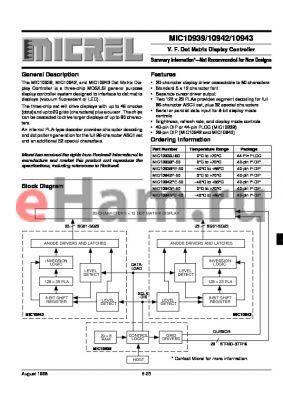 MIC10939PE-50 datasheet - V. F. Dot Matrix Display Controller