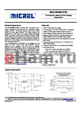 MIC2787 datasheet - Push-Button Reset IC with Voltage Supervisor